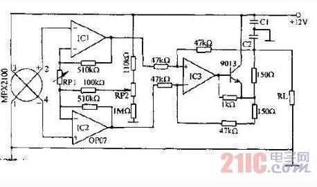 器放大后,驱动9013,以4-20ma电流的形式向负载rl输出